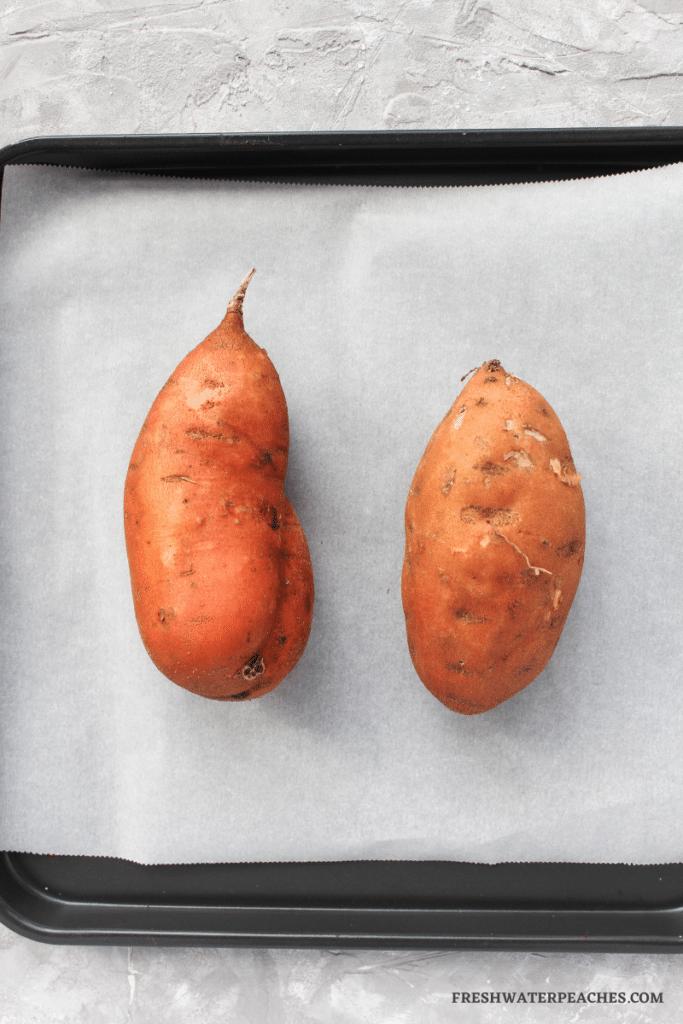Before baking sweet potato.
