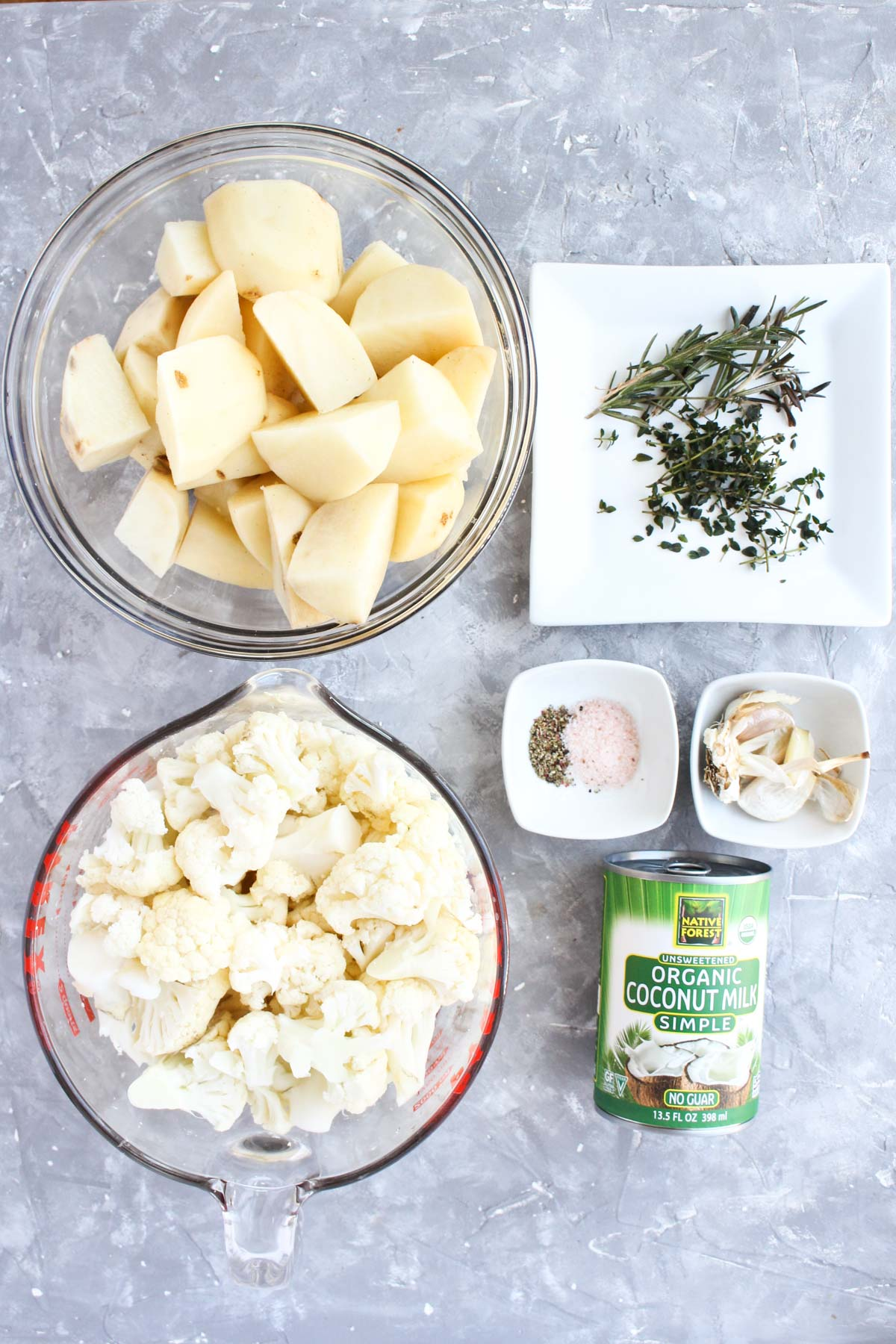 Ingredients for mashed potatoes.