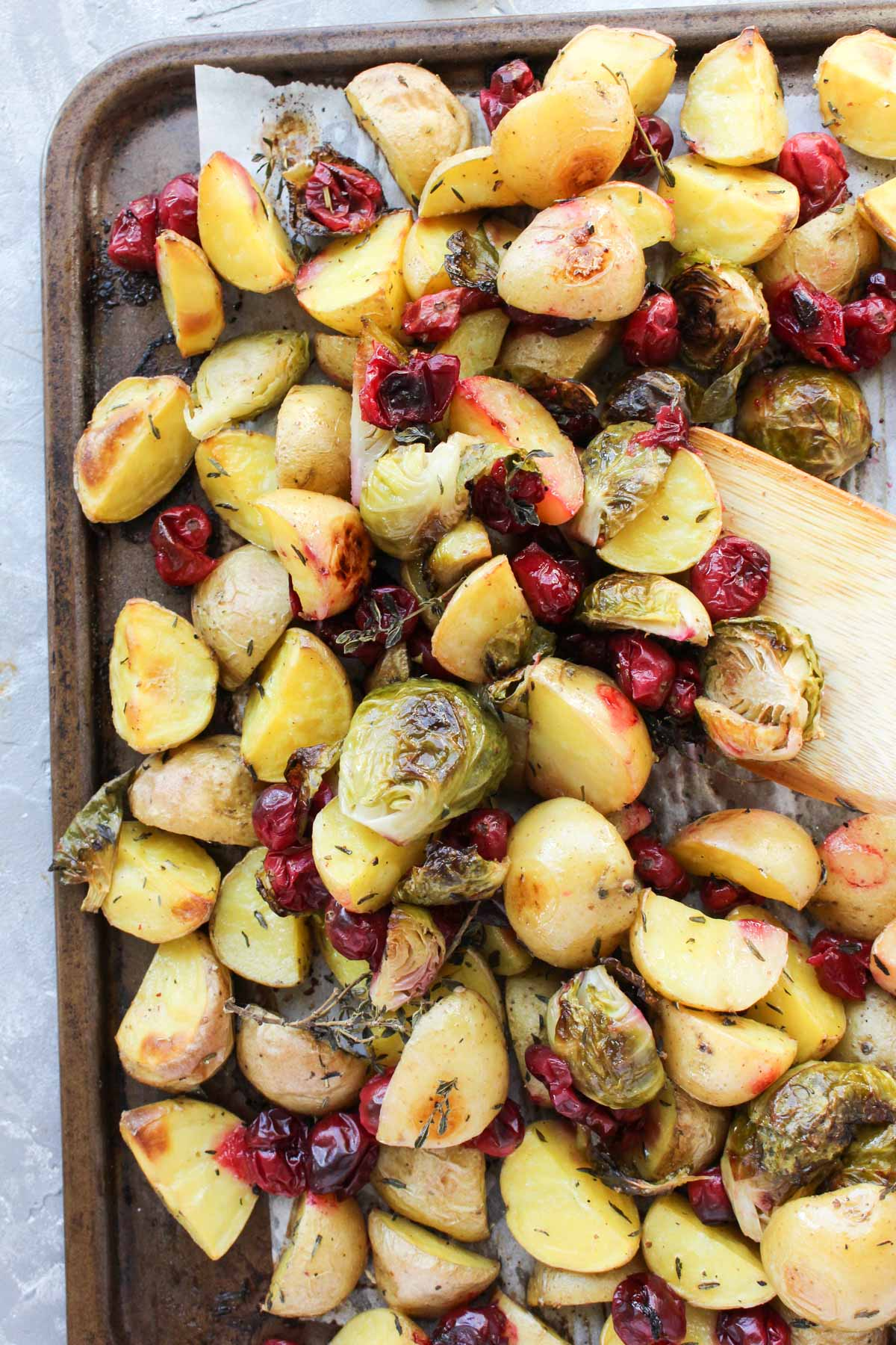 Roasted vegetables side dish on a sheet pan.