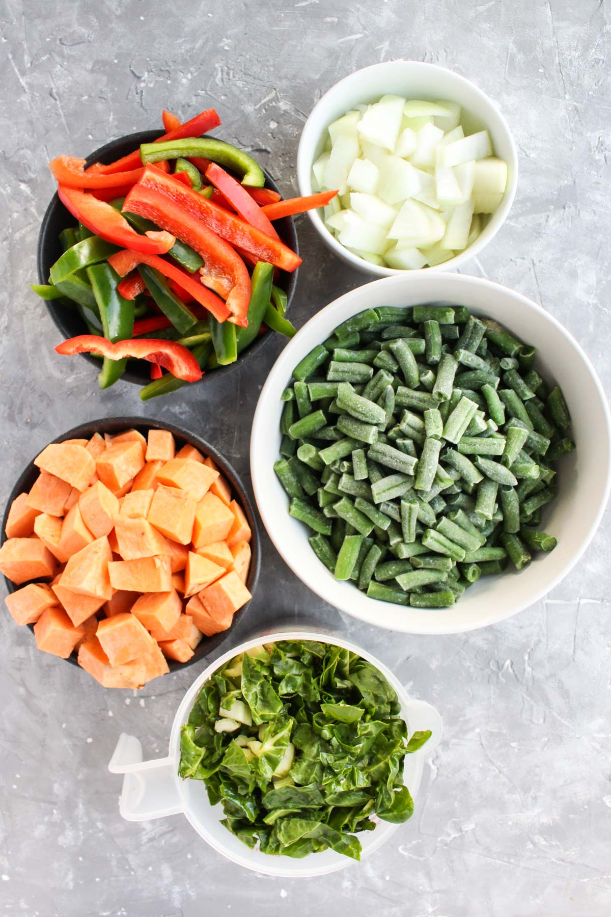 Vegetables prepped and laid out for thai red curry chicken soup.