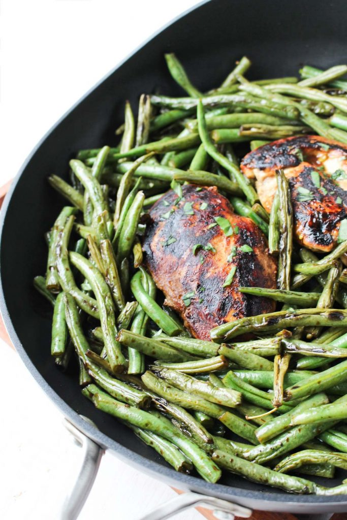Easy Balsamic Chicken Dinner in large sauté pan waiting to be served!