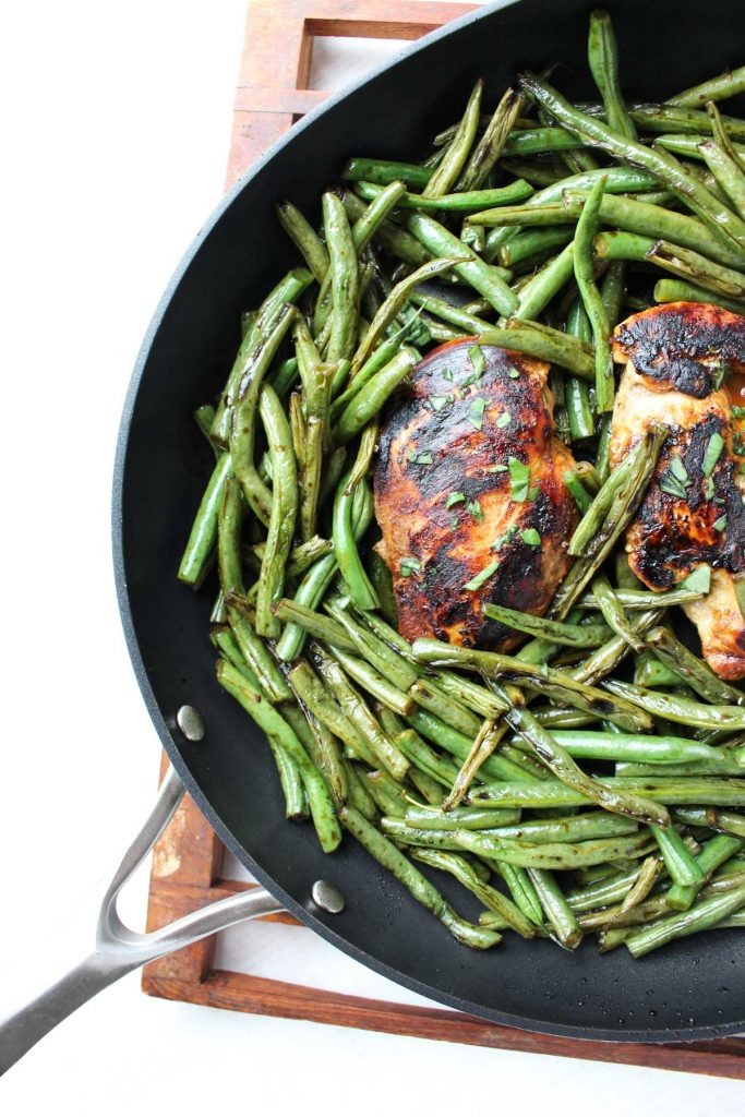 Fully prepared Easy Balsamic chicken dinner with crispy green beans!