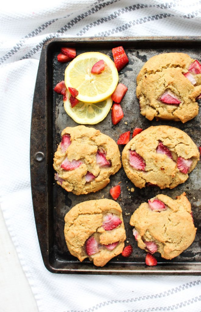 Paleo Strawberry lemon biscuits fresh out of the oven on a baking tray!