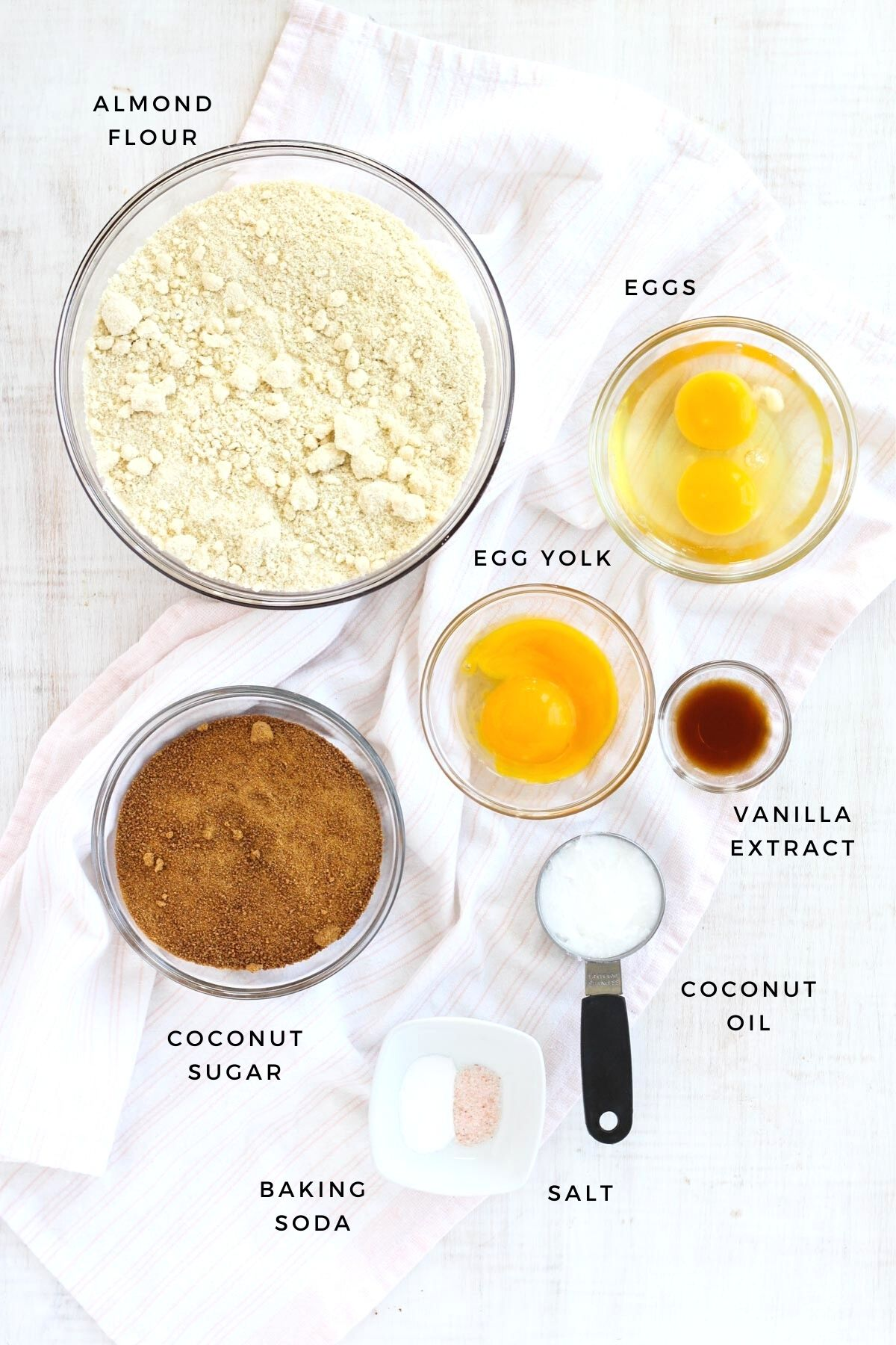 Ingredients laid out for this sugar cookie recipe.
