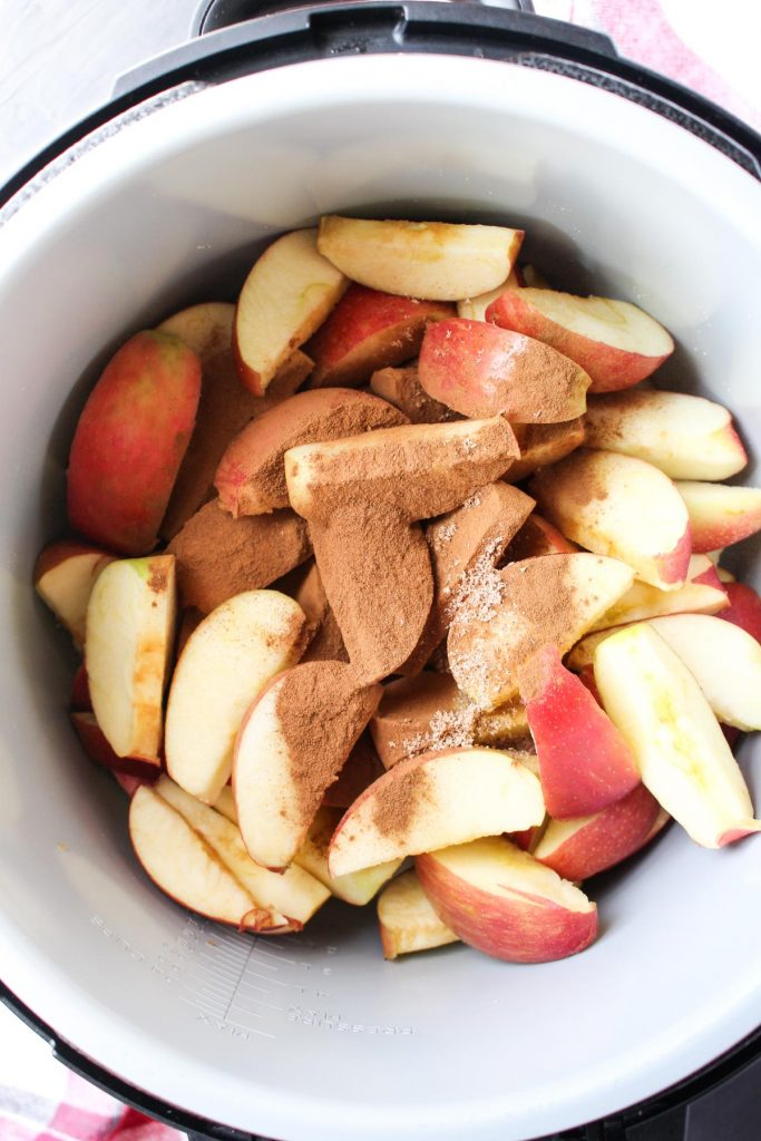 Apples slices and spices in the instant pot.