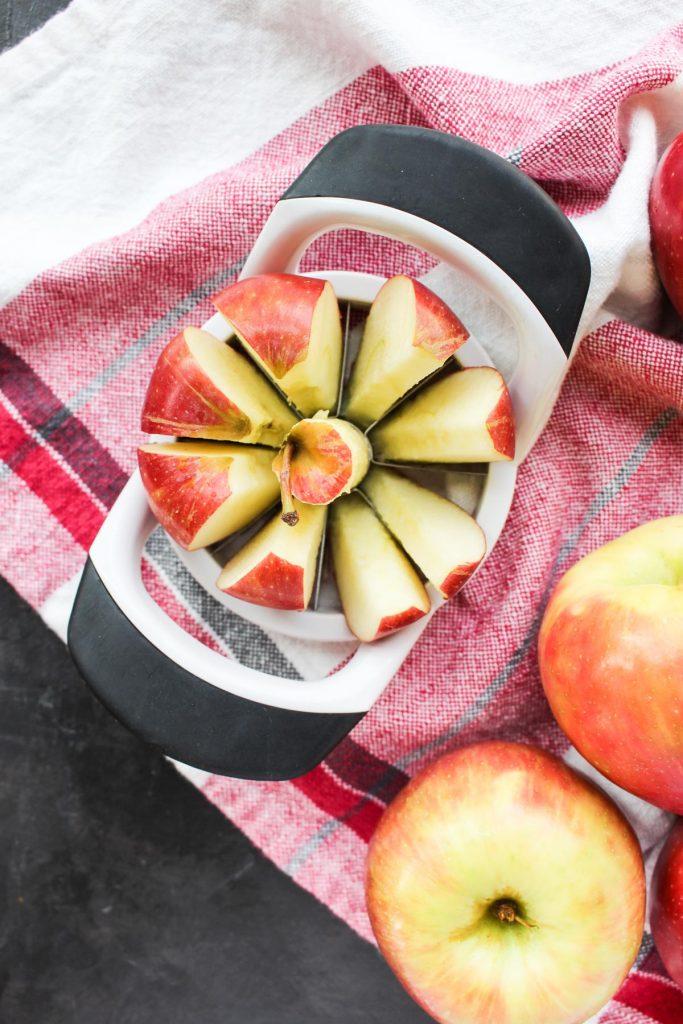 Apples being sliced.