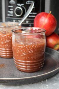 Applesauce in a small mason jar.