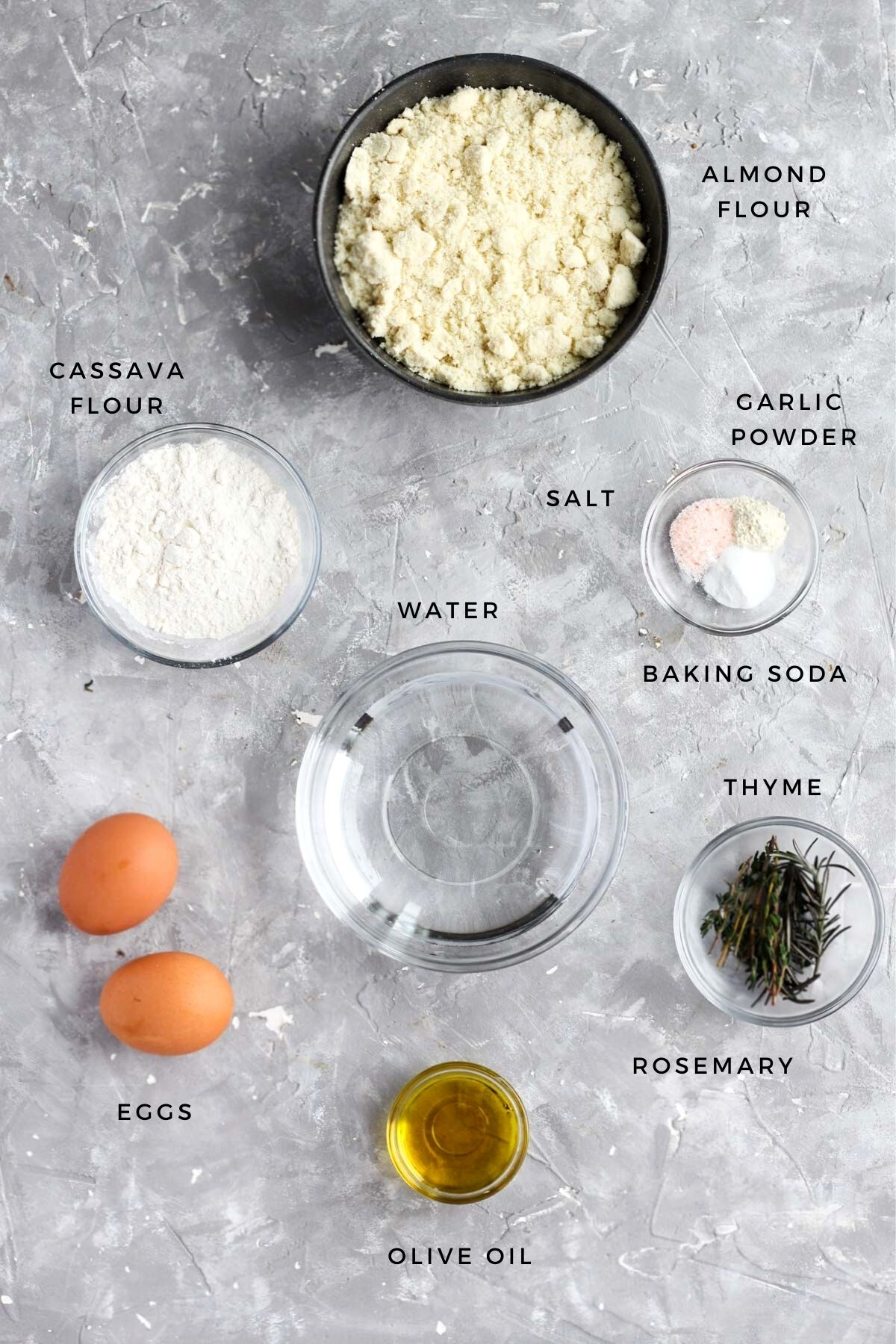 Overhead shot of ingredients for this recipe measured out.