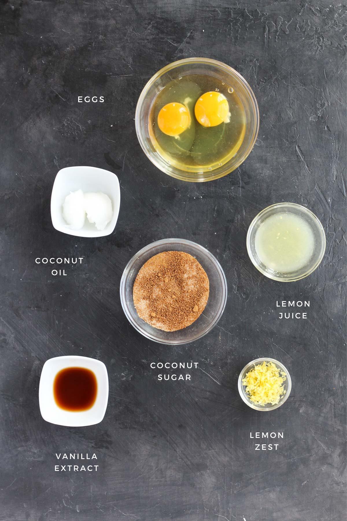 Wet ingredients for thumbprint cookies.