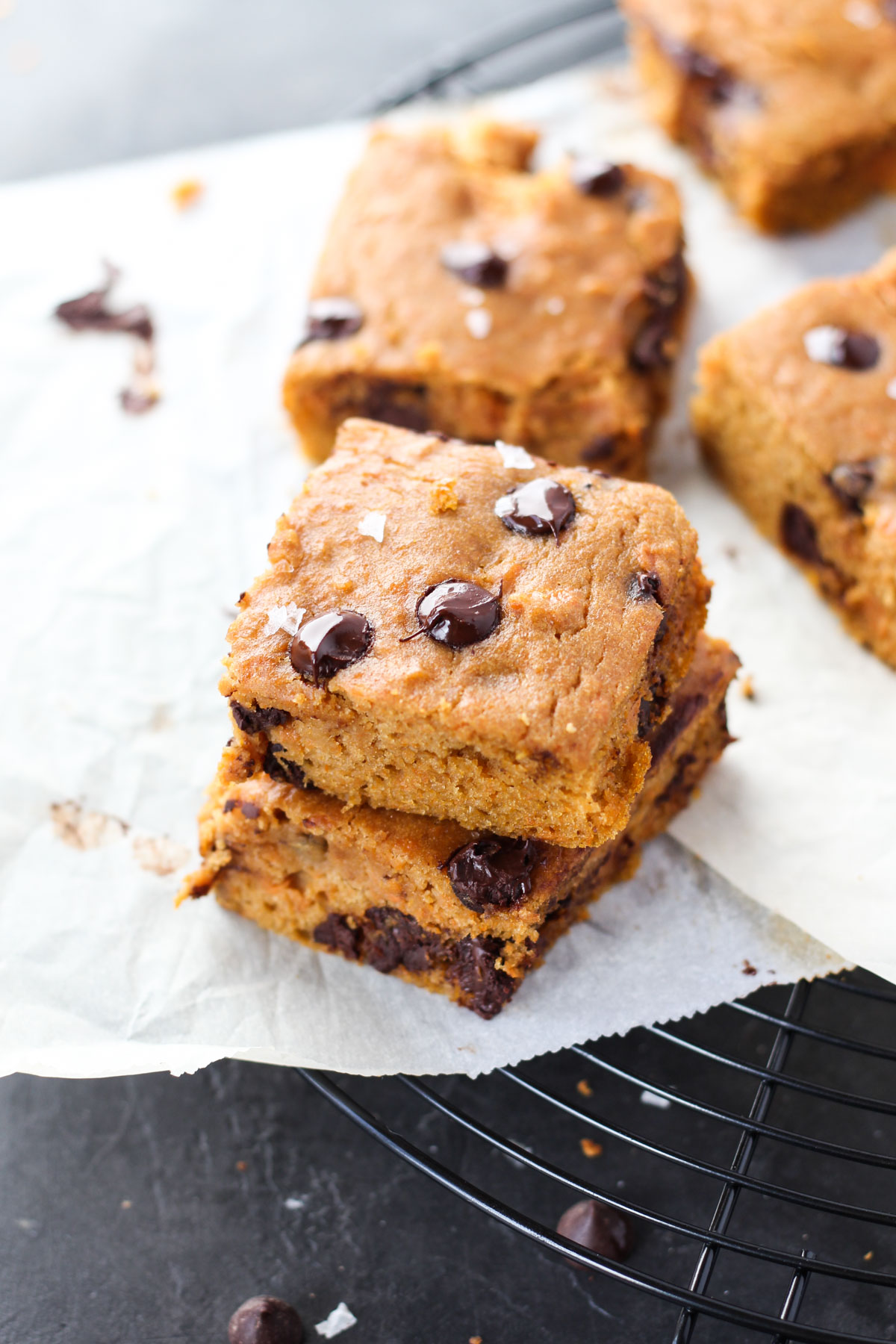Cookie bars stacked on top of each other.