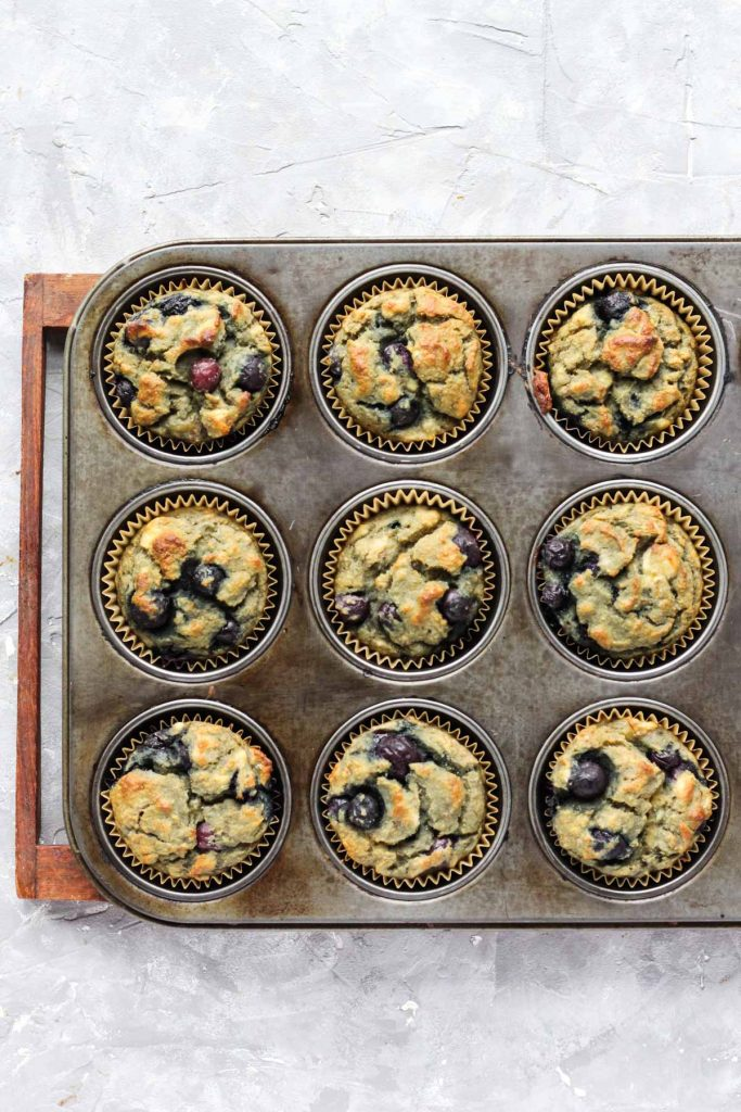 Overhead shot of muffins in pan after being baked.