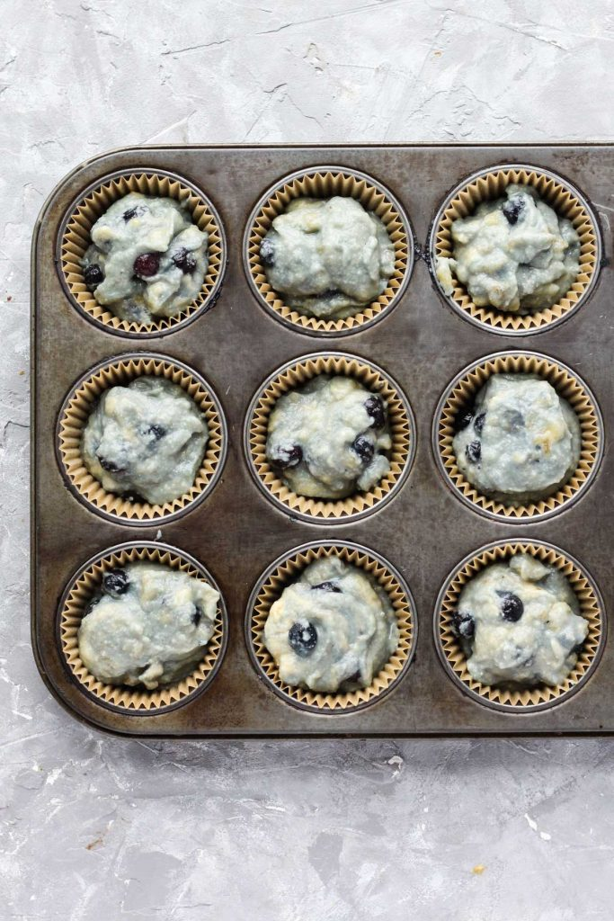 Muffins in pan before baking.