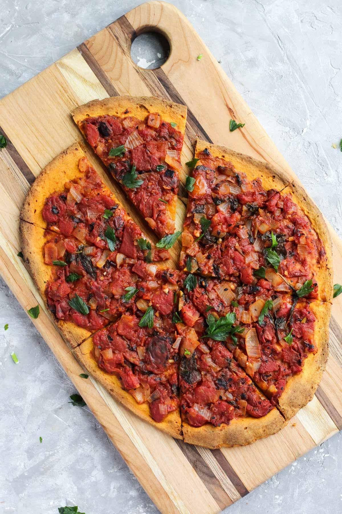 Overhead shot of pizza.