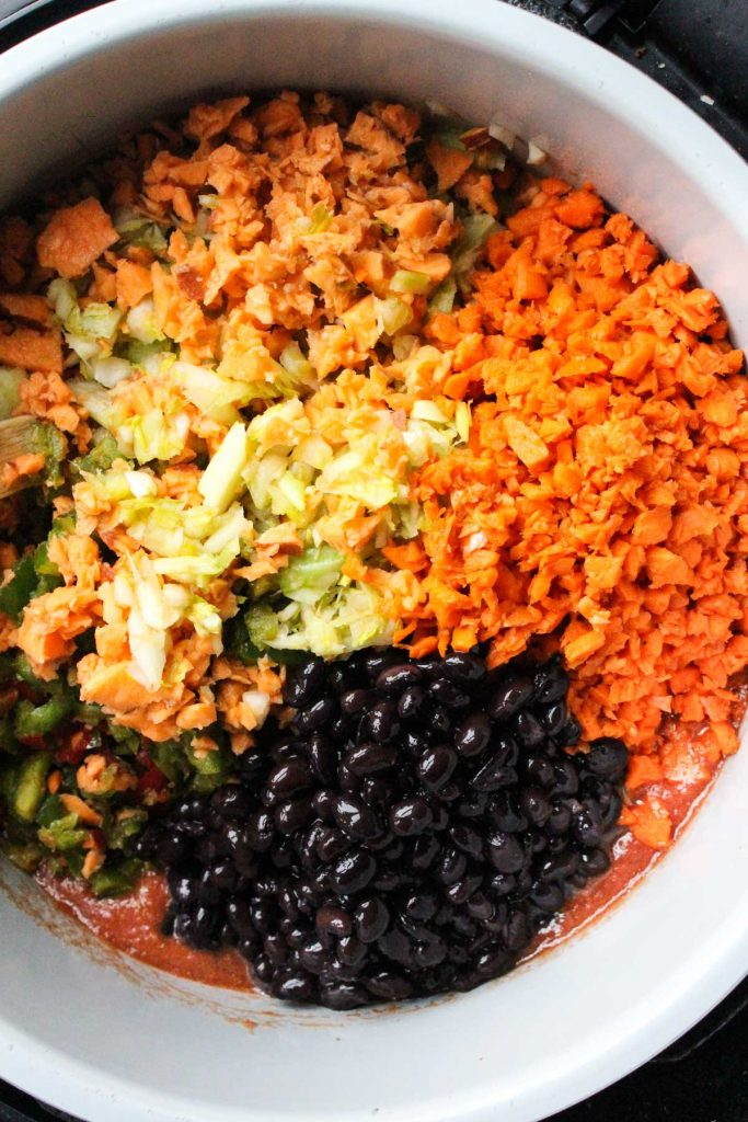Vegetables added into pot.