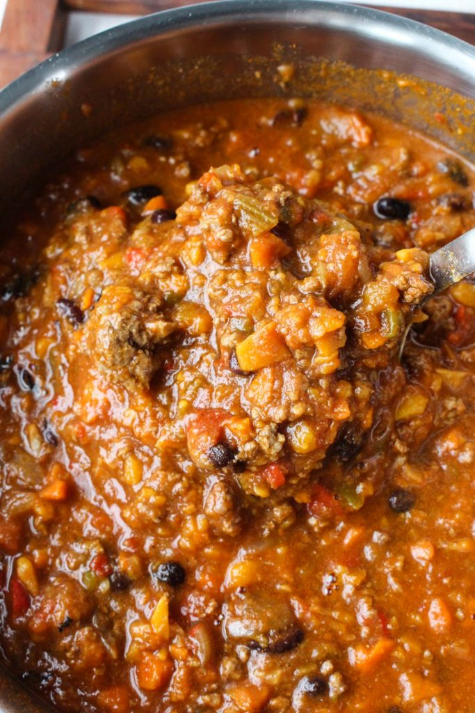 Chili after cooking.