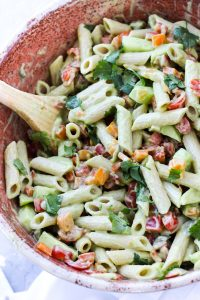 Pasta salad in a large bowl.