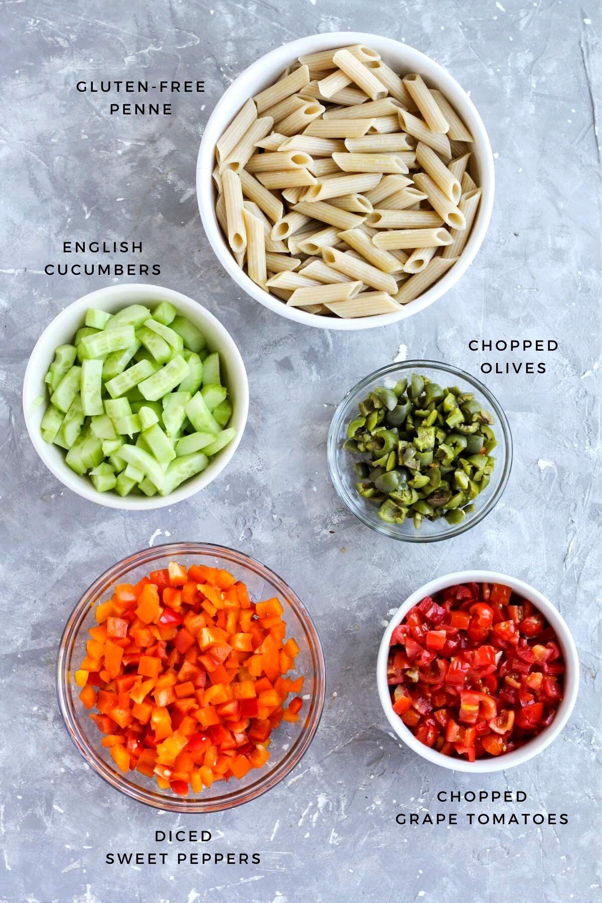 Overhead shot of pasta salad ingredients.