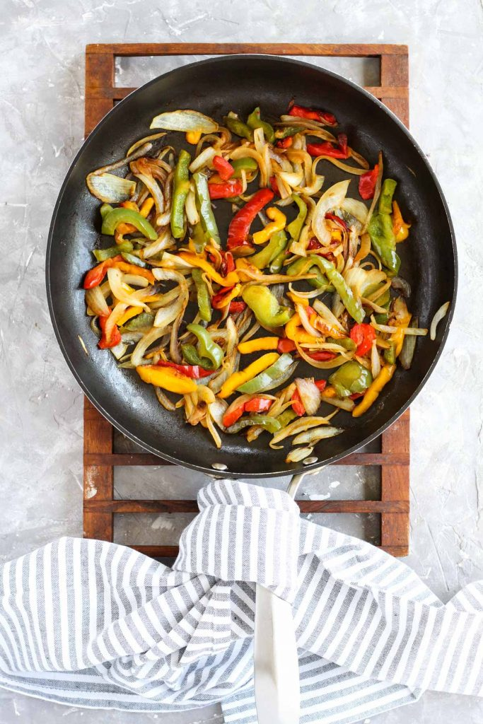 Vegetables in sauté pan.