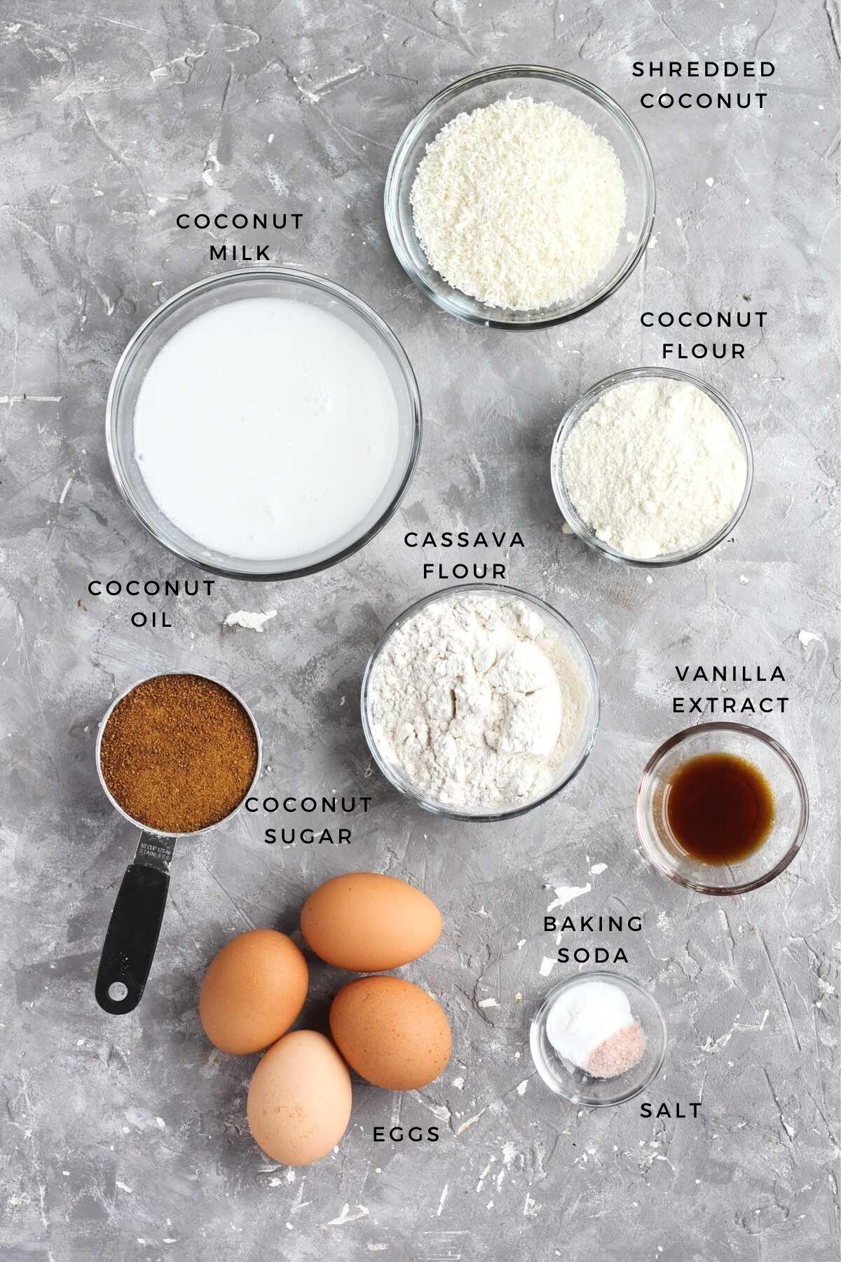 Overhead shot of cupcake ingredients.