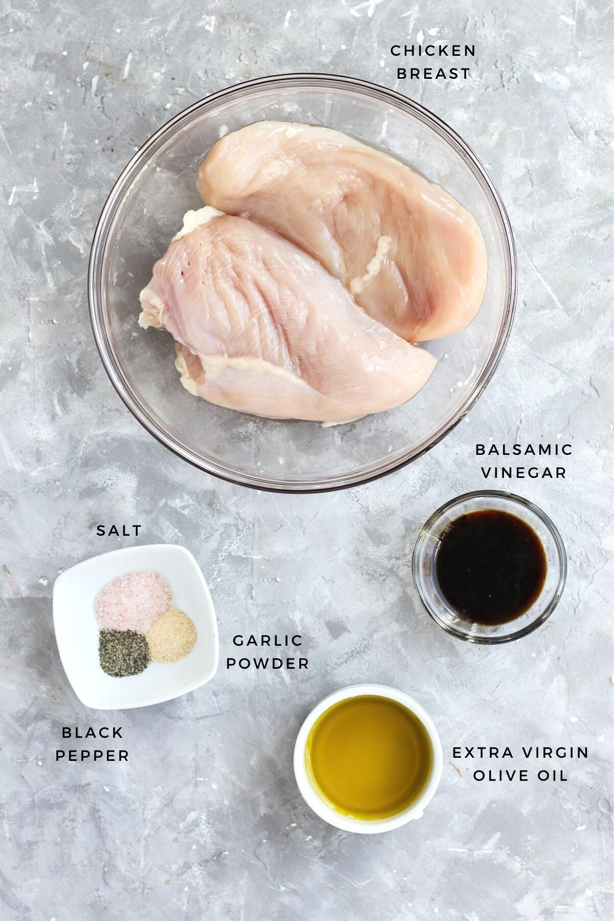 Overhead shot of balsamic chicken ingredients.