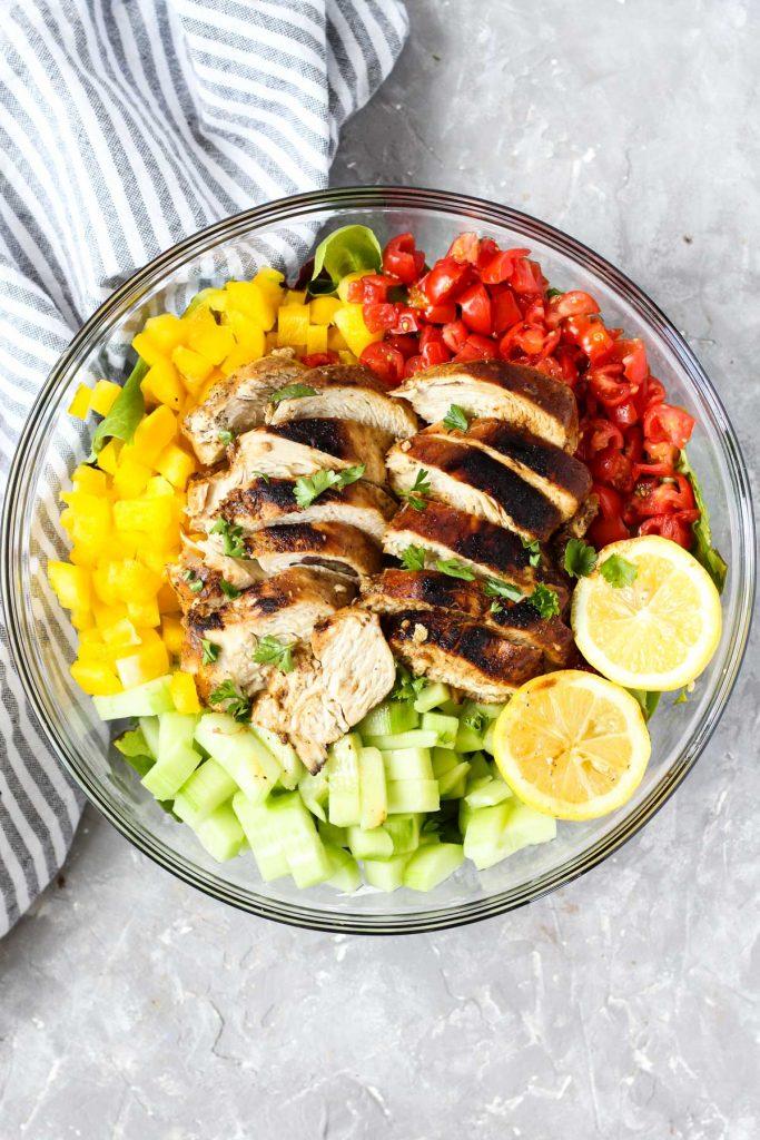 Overhead shot of balsamic chicken salad.