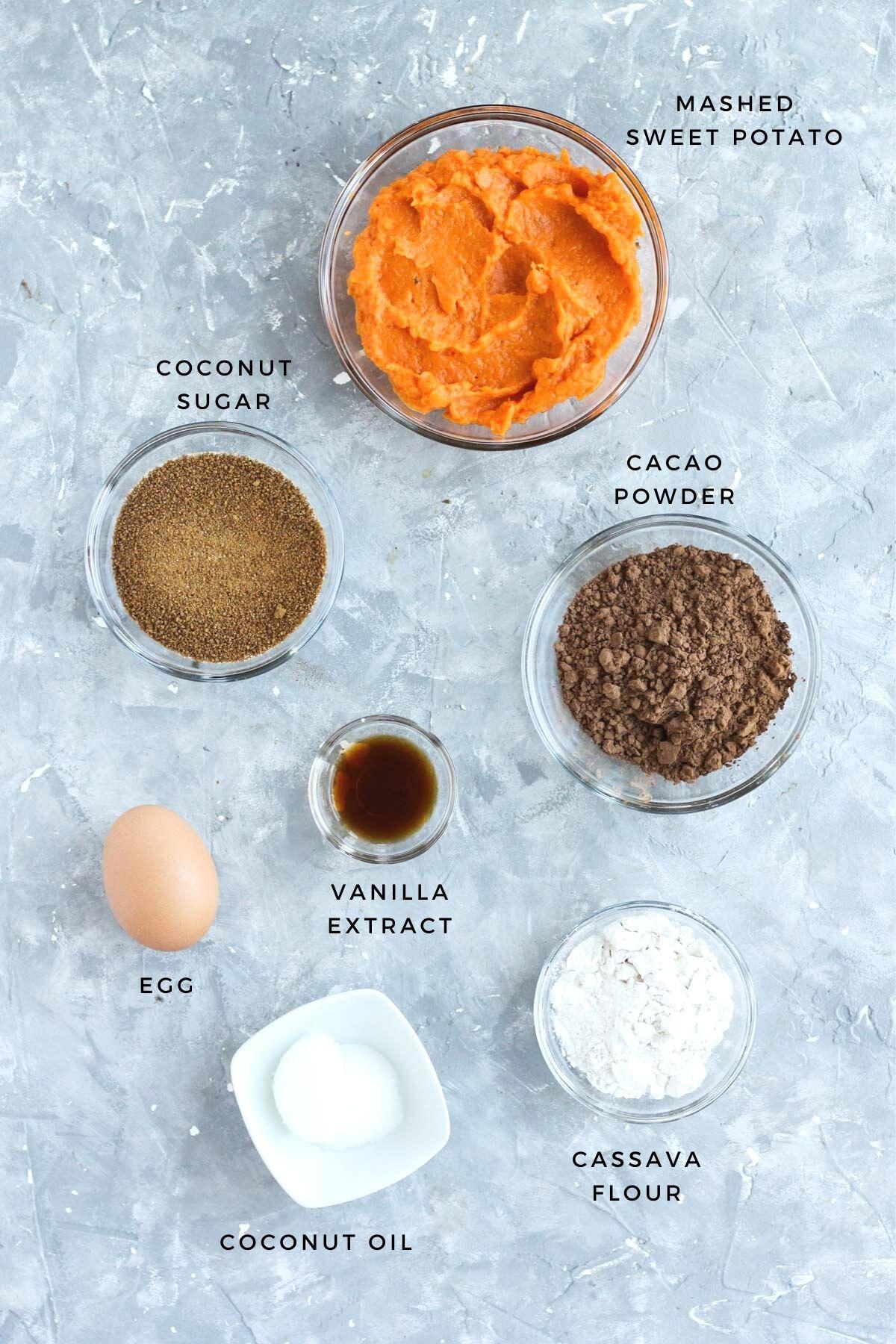 Overhead shot of brownie ingredients.