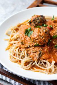 Plate of spaghetti, meatballs, and tomato sauce.