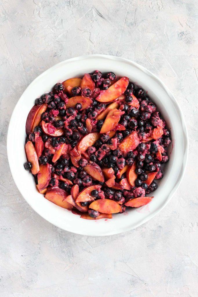 Fruit mixture in baking dish.
