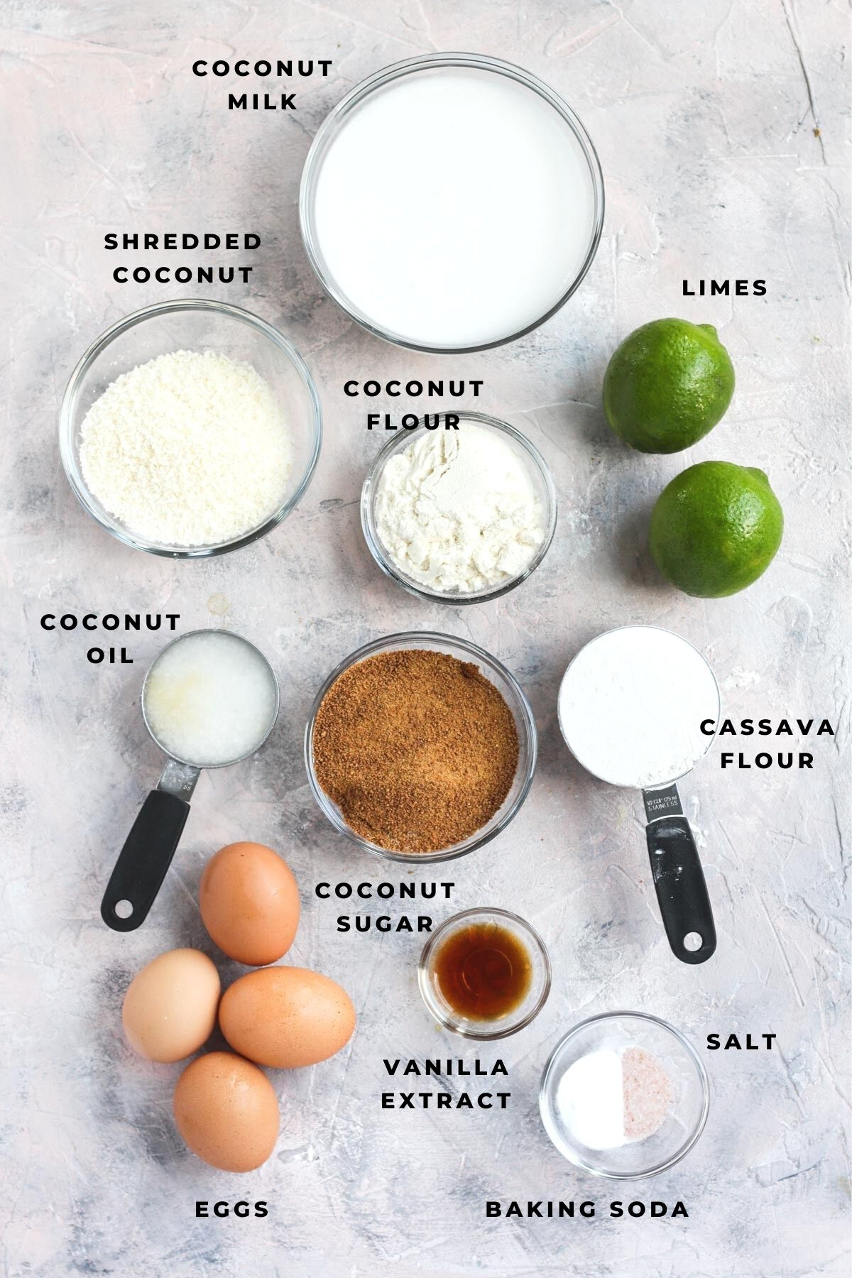 Overhead shot of coconut lime cake ingredients.