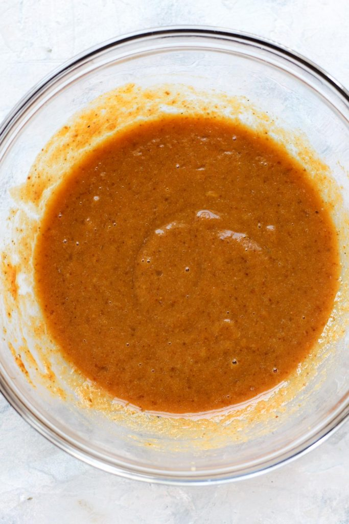 Wet ingredients in mixing bowl.
