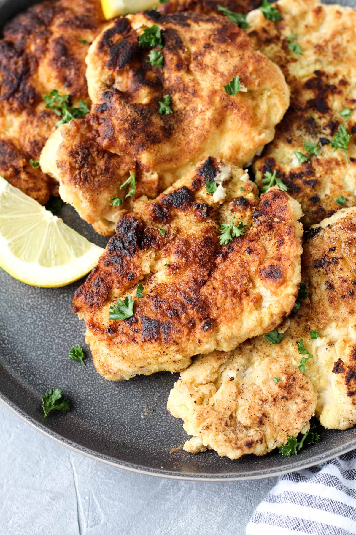 Plate of chicken cutlets.