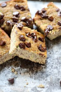 Zucchini banana cake slices on top of each other.