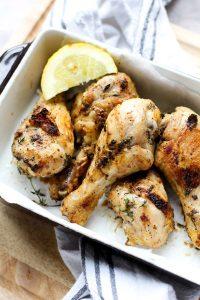 Baking pan with crispy wings.