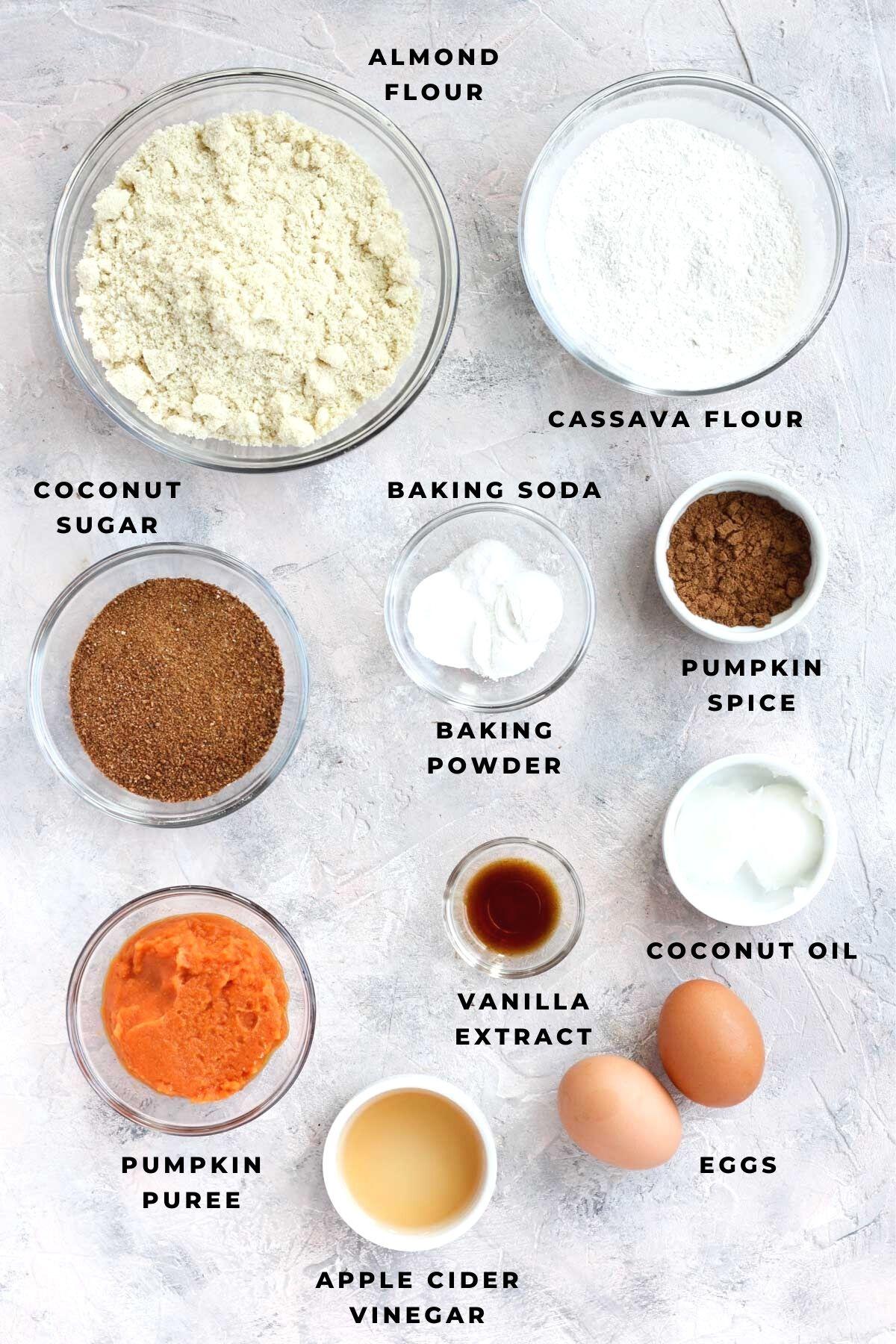 Overhead shot of pumpkin scone ingredients.