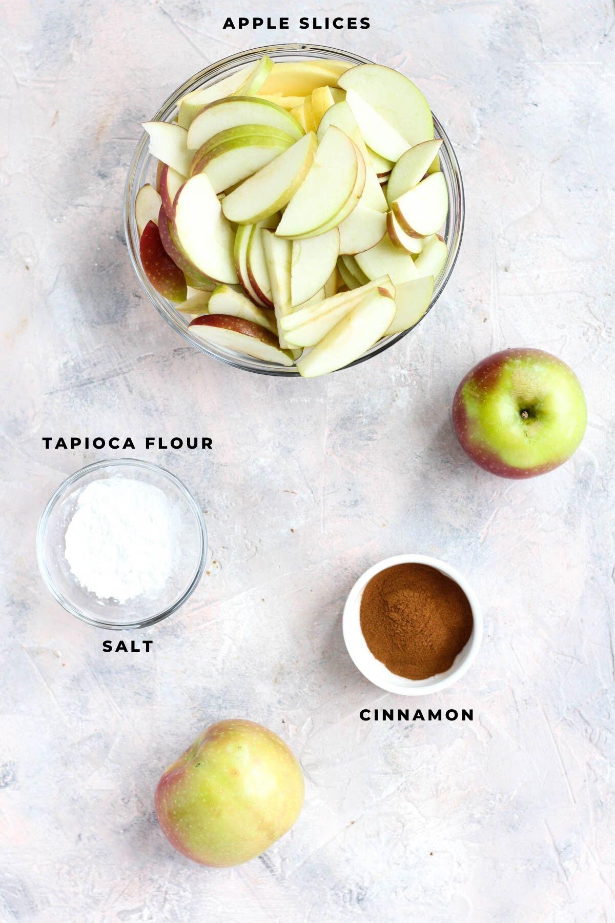 Overhead shot of baked apple ingredients.