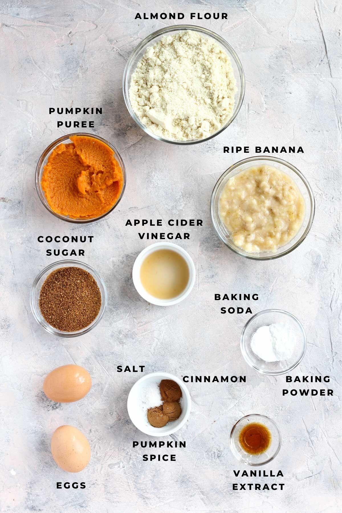 Overhead shot of pumpkin banana bread ingredients.